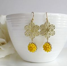 Romantic Yellow Spring Summer Flower Earrings. Dangle Drop Floral Ear Accessory. Wedding Jewelry. Bridal, Bridesmaid Gift