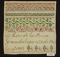 19th Century Spanish Sampler Stitched By Rosa Guadaloupe Dated 1849