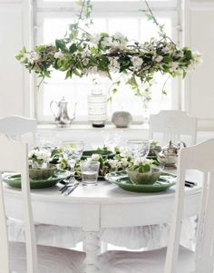 Home Furnishings:  Dress up a white table and chairs with beautiful dishes and a hanging garland.  A lovely look for a cottage or garden room.
