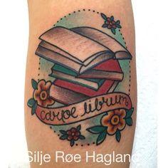 Sweet little traditional book tattoo, Silje Roe Hagland.