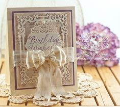 Birthday Card Making Ideas by Becca Feeken using JustRite Grand Handwritten Sentiments along with Spellbinders Regal Frame and A2 Tranquil Moments - more details at www.amazingpapergrace.com
