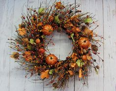 Rustic Wreath  Primitive Fall Wreath  Fall Floral by Designawreath
