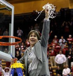 Tara VanDerveer, Stanford Women's Basketball, this sight never gets old, cutting down a net!