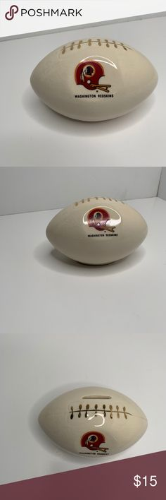 Washington Redskins Football Porcelain Piggy Bank -cream colored football with redskins logo -football shaped piggy bank -please see photos -great condition, like new  Feel free to make offer or ask any questions! Storage & Organization
