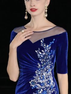 Classic Royal Blue Velour Evening Dresses 2020 Sheath / Fit See-through Scoop Neck Sleeves Appliques Sequins Rhinestone Split Front Floor-Length / Long Ruffle Formal Dresses Simple Dresses, Casual Dresses, Fashion Dresses, Formal Dresses, Prom Dresses, Classic Dresses, Flapper Dresses, Evening Dresses, Afternoon Dresses