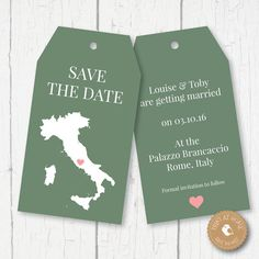Italy Map Wedding Luggage Tags Save the Date door ChubbySparrow