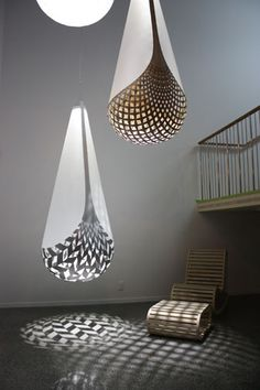 Baskets of Knowledge lamps in bamboo plywood and aluminum by David Trubridge