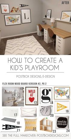A No-Brainer Playroom Design that Works for All Kids – Postbox Designs Postbox Designs, Interior E-Design: Kid Playroom Design, Kid Bonus Room Design + Homework Station & Craft Table via Online Interior Design, Kid Room Decor, Postbox Designs Kids Playroom Design, Kids Room Design, Kid Playroom, Playroom Ideas, Kids Homework Station, Homework Table, Bonus Room Design, Cute Wall Decor, Flex Room