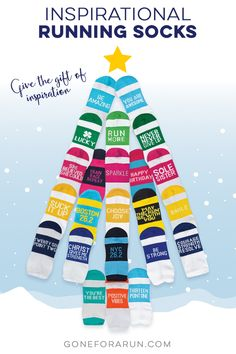 From short runs to marathons, experience the quick-drying effect of these moisture-wicking, padded, low-cut and crew running socks from Gone For a Run. Choose from many fun, motivational messages printed on colorful backgrounds. Running Friends, Running Gifts, Running Socks, Motivational Messages, Inspirational Message, Running Inspiration, Motivation Inspiration, Christmas Themes, Christmas Holidays