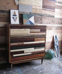 Salvaged Wood Dresser #Furniture #DIY would love to do a wall like this in the family room