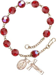 14 Karat Gold Rosary Bracelet features 8mm Ruby Swarovski, Capped Our Father…