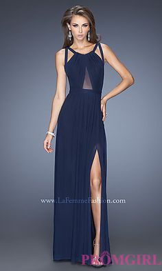 Floor Length Sleeveless Dress with Cut Out Back by La Femme at PromGirl.com in forest green