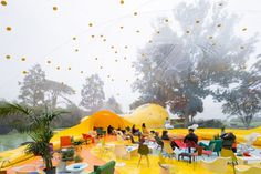 Madrid-based studio Dosis has inflated Second Dome, a pneumatic living structure in an east London park to host a day of piñata making and film screenings. London 2016, East London, Park Pavilion, Giant Inflatable, Dezeen, Experiential, Dom, Event Design, Pop Up