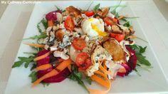 My Culinary Curriculum: Salade de betteraves crues, roquefort, poires et œ...