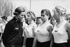 WWII Photo Female German Youth Inspection WW2 B&W World War Two / 2220E