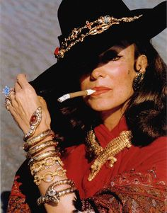 Actress Maria Felix with her jewelry. Yes, I want to overload on my jewelry like that.