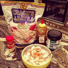My crazy Friday night  #dinnerofchampions #breakfastfordinner #nosugar #coachsoats #cinnamon #coconutoil #jarrowformulas #honey #banana #nutrition #health #fridaynight