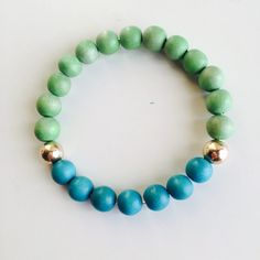 Neon Green & Electric Teal - 8mm Round Wood Beads - Gold Filled Beads on Etsy, $15.00