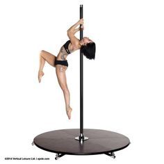 Static Pole - X-Pole X-Stage Lite 45mm Silicone Dance Pole In Pink Or Black With Stage