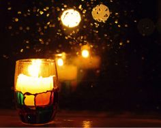 candle by a rainy window..