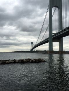 The Verrazano Bridge from Denyse Warf during high tide on a cloudy September Tuesday - September 22, 2015 - Photo by James Scully