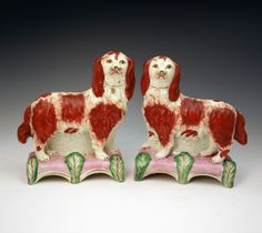 ANTIQUE STAFFORDSHIRE VICTORIAN FIGURES OF SPANIEL DOGS ON BASES