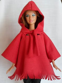 Crochet Toy Barbie Clothes Happier Than A Pig In Mud: Hooded Cape/Poncho for Barbie -Free Pattern, Tutorial, No Sew Option Sewing Barbie Clothes, Barbie Sewing Patterns, Barbie Dolls Diy, Barbie Dress, Doll Clothes Patterns, Clothing Patterns, Diy Clothing, Blouse Patterns, Doll Patterns