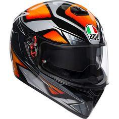 Κράνος #AGV K-3 SV Pinlock Multi-Liquefy Black-Orange Orange Motorcycle Helmet, Motorcycle Helmets, Valentino Rossi, Casco Helmet, Agv Helmets, Sports Helmet, Black, Full Face, Waterfalls