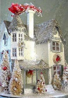 Putz Tudor House with a Christmas Eve visitor