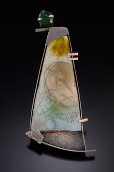 Anne Havel--torch-fired enamel on copper  Pattern, color, texture, balance, unexpected (piece on lower corner)