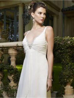 Buy A-line Sweetheart-Neckline Backless Evening Dress Chapel Train Chiffon Simple Bridesmaid Gown White from $207.90 only at bridalweddingmall.com