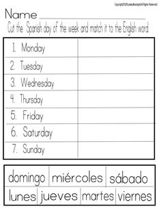 spanish days of week matching sheet                                                                                                                                                                                 More