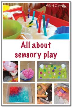 All about sensory play - the why, the how, and tons of sensory play examples. These sensory play ideas will keep my kids busy all year long! Will have to refer back to this resource during the year to get new sensory play ideas for my kids. || Gift of Curiosity