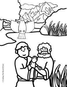jesus baptism coloring page - Jesus Baptism Coloring Page