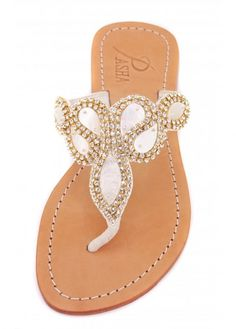 2a45d45a4 Pasha Hawaii Abalone  amp  Gold Czech Crystal Embellished Flat Sandals  Embellished Sandals