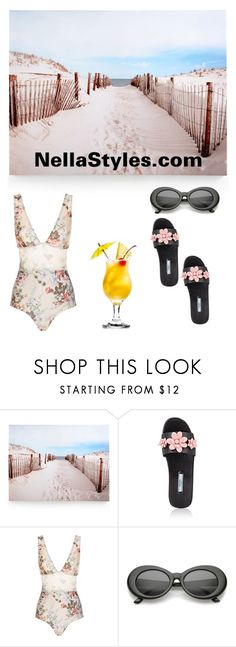 """Beach Time"" by nellastyles ❤ liked on Polyvore featuring Graham & Brown, Prada and Zimmermann"