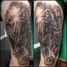 What does poseidon tattoo mean? We have poseidon tattoo ideas, designs, symbolism and we explain the meaning behind the tattoo. Poseidon Tattoo, Tatoo Zeus, Zues Tattoo, Nautical Tattoo Sleeve, Animal Sleeve Tattoo, Leg Sleeve Tattoo, Tattoo Sleeve Designs, God Tattoos, Cool Arm Tattoos
