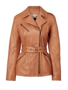 10 Bella Hadid-Approved Leather Jackets to Top Off Your Spring Look via Brit + Co Riders Jacket, Moto Jacket, Biker Jackets, Motorcycle Jacket, Best Leather Jackets, Pants For Women, Jackets For Women, Coat Pattern Sewing, Brown Outfit