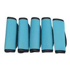 Orchidtent 5 Pack Soft Comfort Neoprene WaterResistant Handle Wraps Grip  Identifier  Hand Luggage for Travel Bag Luggage Suitcase blue ** Click image to review more details.