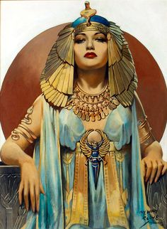 Cleopatra  model is Dorothy Lamour| From a unique collection of portrait paintings at https://www.1stdibs.com/art/paintings/portrait-paintings/