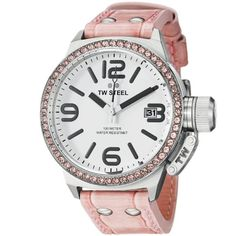 TW Steel Canteen 45mm White Dial Crystal-set Bezel Pink Leather Ladies Watch STW36 - Jewelry For Her