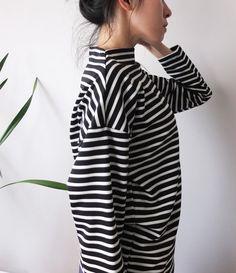 curved mockneck black and white stripe boxy top by Metaformose