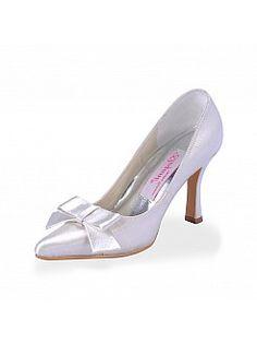 Λευκό Σατέν Επισημανε toe Γόβες Νυφικά παπούτσια με Φιόγκος hx140024 - EUR 57,21€