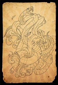 snakes tattoo outline by Aubrey Mennella: TattooNOW :