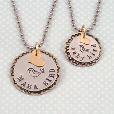 """This is a great idea for those who want a matching jewelry set for themselves and their child!  We love how this set has the big and the little, both in letter font and design stamps! Beaducation.com design idea """"Mama Bird, Baby Bird"""""""