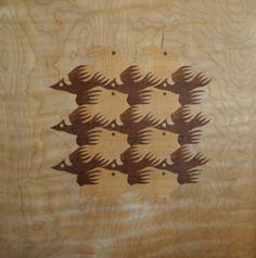 Wood intarsia - M.C. Escher