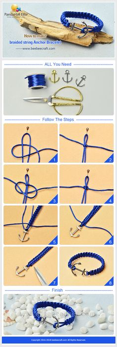 #Beebeecraft tutorials on how to make #braided #string #Anchor #Bracelet