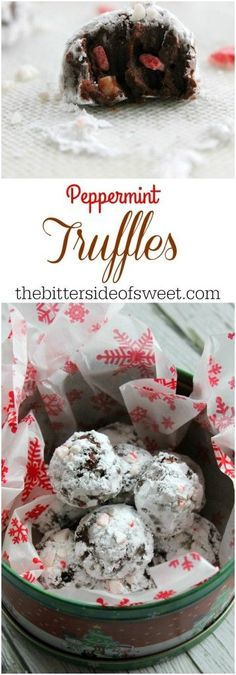 Peppermint Truffles - The Bitter Side of Sweet: Mini Desserts, Holiday Desserts, Holiday Recipes, Sweet Desserts, Healthy Desserts, Christmas Dinner Menu, Christmas Party Food, Christmas Sweets, Christmas Ideas