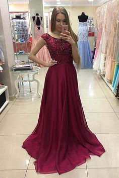 Crimson chiffon sequins prom dress, modest prom dress, long dress for teens