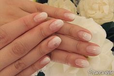 Gradient White tips, silver sparkles and delicate hearts - nail art manicure. ☆白グラデ×ハートネイル☆